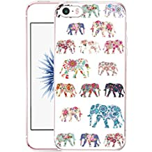 Case for Iphone SE Elephant, CCLOT Apple Iphone 5 5S SE Cover Protective Wonderful Elephant Animal Pattern Flower (TPU Protective Silicone Cover)