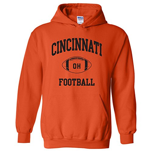 (Cincinnati Classic Football Arch American Football Team Sports Hoodie - X-Large - Orange)