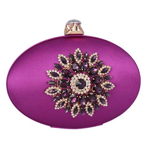 Flower Adoptfade Womens Clutch Evening Purple Oval Rhinestone Retro Bag 5rAgqrwx