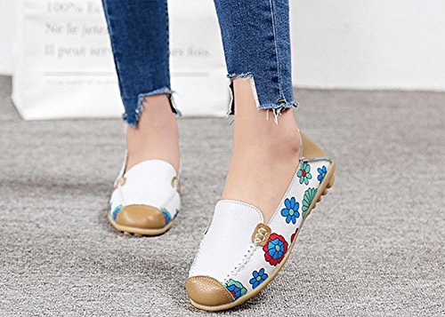Scarpe Driving Flower Da Bianche Pelle Flat In Casual Barca Mocassini Eagsouni On Donna Slip Ballo Pumps wz8Un71aqx