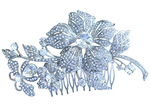 Sindary Wedding Hair Comb 5.12 Inch Silver-tone Clear Rhinestone Crystal Flower Hair Comb by Sindary Jewelry