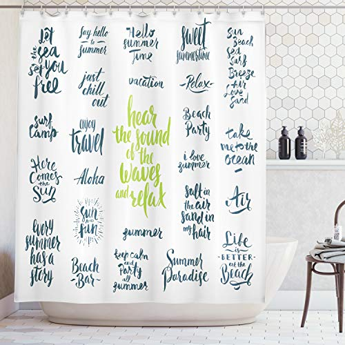 Ambesonne Quotes Decor Collection, Summer Holidays and Vacation Words Hear The Sound of The Waves and Relax Image, Polyester Fabric Bathroom Shower Curtain, 84 inches Extra Long, Dark Teal ()