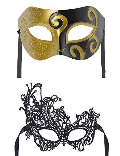 Party Costume Accessory Couples Pair Mardi Gras Venetian Masquerade Lace Sexy Masks Set(MJ02) -