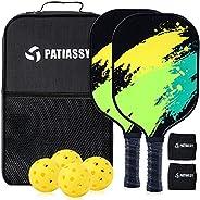 Patiassy Pickleball Paddles, Graphite Pickleball Paddles Set of 2 Pickleball Rackets 4 Pickleball Balls 2 Wris