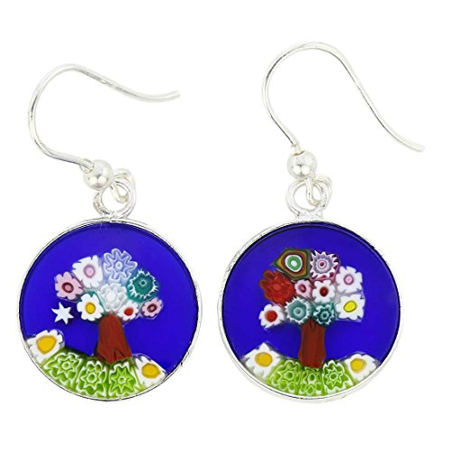 - GlassOfVenice Murano Glass Millefiori Round Dangle Earrings Tree of Life - Silver