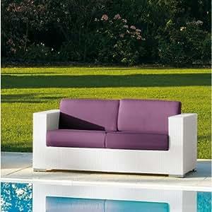 Cora 2 Seater Sofa by Varaschin R and D Colour: White, Cushion: Panama Azzurro
