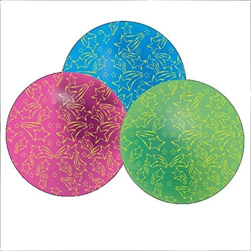 Glow Beach Balls (Dozen Assorted Color Glow In The Dark Star Theme Beach Balls)