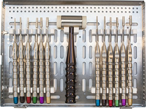 A. Titan K310 Osteotome Kit, Concave, 6 Straight and 6 Angled Osteotomes with 1 Mallet, T-20 Tray by A. Titan