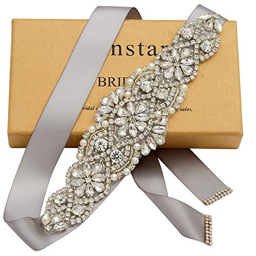 Yanstar Handmade Bridal Belt Wedding Belts Sashes Rhinestone Crystal Beads Belt For Bridal Gowns (Silver-Silver)