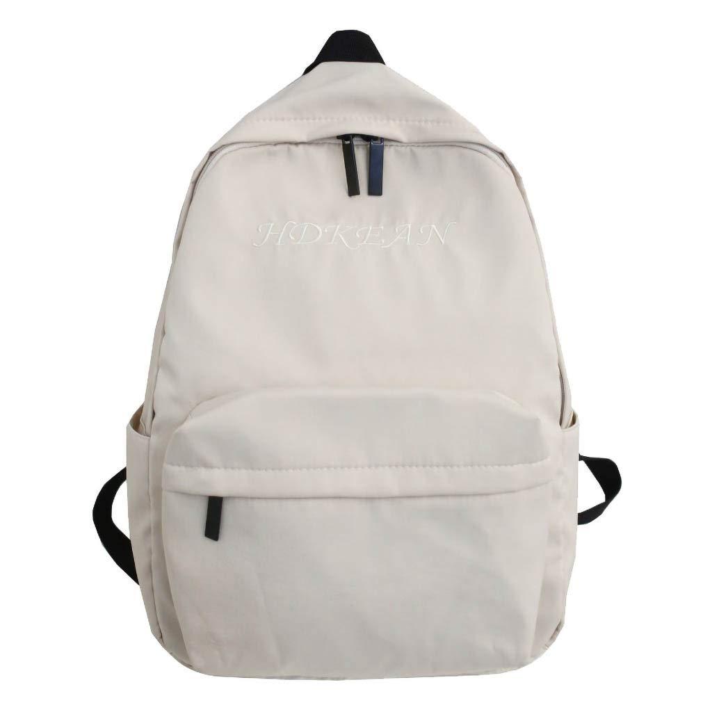 Casual Backpack School Bag,Large Capacity Solid Color Waterproof Nylon Casual Backpack School Bag (White)