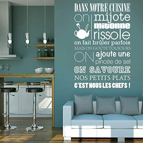 zxddzl Cita de la Cita en francés Reglas de Cocina Calcomanías de Vinilo WAL Pegatinas Arte Mural Decoración para el hogar Decoración de la Sala Poster 111x72cm: Amazon.es: Hogar