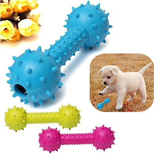 lovely Pet Dog Rubber Barbell Dental Teeth Cleaning Chew Play Toy