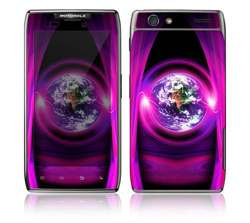 Motorola Droid Razr, Razr Maxx Decal Phone Skin Decorative Sticker w/ Matching Wallpaper - Mystic Earth
