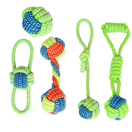 BIMOUR Dog Rope Toy Puppy Chew Tug of War Dog Toys Playtime and Teeth Cleaning Toys for Small Dogs Safe Pet Supplies for…