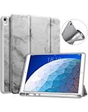 MoKo Fodral passar ny iPad Air 3 2019 (3:e generationen 10,5 tum)/iPad Pro 10,5 2017 med pennhållare – MoKo smal lätt smart skal stativ fodral med automatisk vakna/sömn – mörkgrå marmor