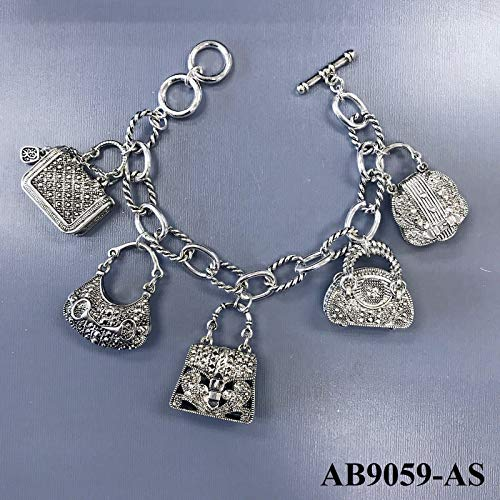 Silver Tone Chain Designer Inspired Hand Purse Bag Charms Toggle Bar Bracelet