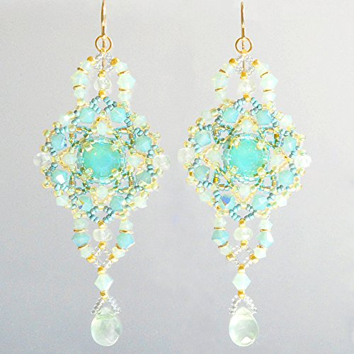 Large and Lacy Art Earrings in Natural Prehnite, Swarovski Crystal, and 14K Gold Filled