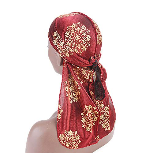 Pirate Cap, ZTY66 Fashion Retro Print Scarf Wrap Hat Turban Brim Hat Cap Pile Cap Head Covers for Women Men (Red) by ZTY66_Hats (Image #2)