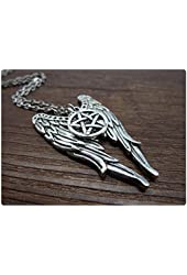 Antique Silver Supernatural Necklace Fantasy Necklace Angel Wings and Pentagram Jewelry Star Necklace Supernatural Angel Grace Necklace
