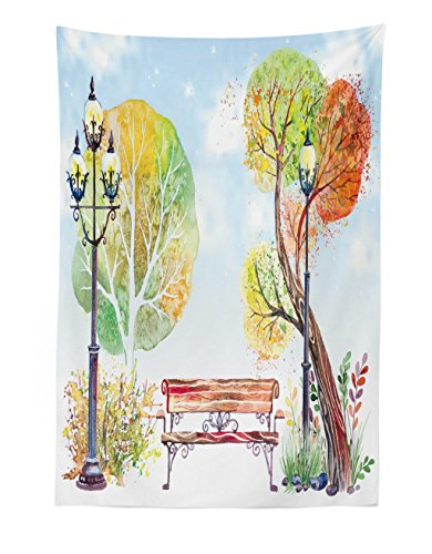 Lunarable Lantern Tapestry, Colorful Fall Trees Wooden Bench in City Park with Blue Sky Autumn Season, Fabric Wall Hanging Decor for Bedroom Living Room Dorm, 30 W X 45 L Inches, Orange Yellow Green]()