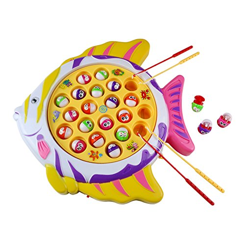 Fishing Game Electronic Rotating Fish Board Game Party Favors Educational Fishing Toy with Music Great Gift for Kids Boys Girls