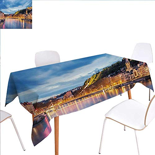 familytaste European Patterned Tablecloth View of Saone River in Lyon City at Evening France Blue Hour Historic Buildings Dust-Proof Oblong Tablecloth 60