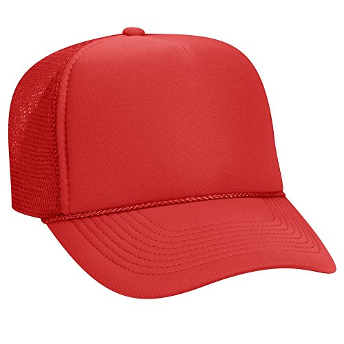 OTTO Polyester Foam Front 5 Panel Pro Style Mesh Back Trucker Hat - Red