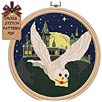 Cross stitch patterns owl pdf, Hogwart modern counted easy for beginners cross stitch sampler, starry night moon cross stitch chart, Wall decor DIY