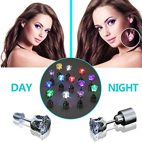 [[3 Paris] LED Earrings, AYAMAYA Stainless Glowing Light up Couple Ear Drop Bright Crystal Pendant Stud (9 Colors) for Party Festival in] (The Shining Couple Costume)
