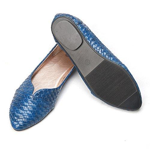 Fereshte Dames Comfort Kunstleer Spitse Neus Plat Pump Balletschoenen No.277 Blauw