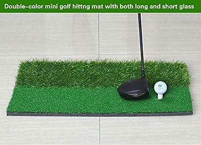 "FUNGREEN Backyard Golf Mat 12""x24"" Indoor Training Hitting Pad Practice Rubber Tee Holder Eco-friendly Green"