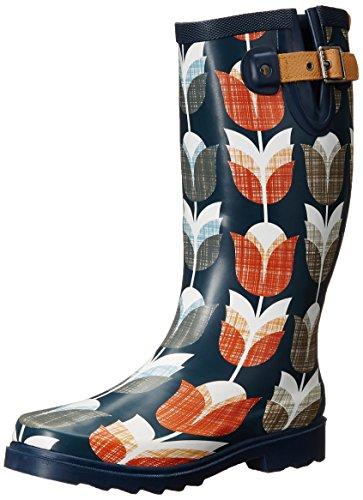 Chooka Women's Vintage Tulip Rain Boot, Navy, 7 M US