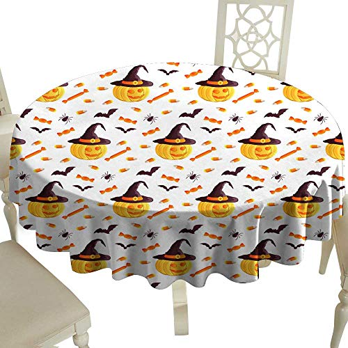 Fabric Dust-Proof Table Cover Festive seamless pattern Halloween characters jack o lantern witch hat bat spider corn candy Vector illustration on a white background Usable for design packaging wallpa -