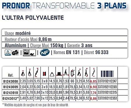 Tubesca – Escalera transformable en aluminio 3 x 12 haut. acceso Maxi: 8,86 – Pronor 3 tramos 1243012: Amazon.es: Bricolaje y herramientas