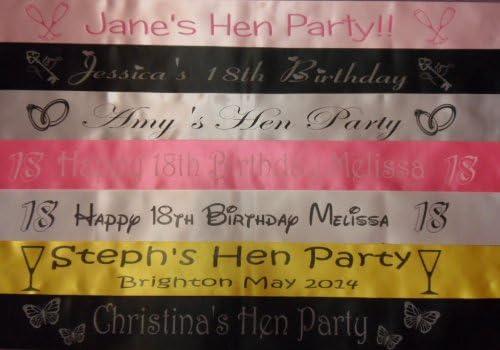 Baby Shower Hen Night Prom Corporate Birthday 100mm wide PERSONALISED SASH