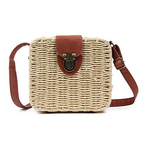 (Freie Liebe Vintage Straw Woven Satchel Messenger Womens Beach Crossbody Shoulder Bag)