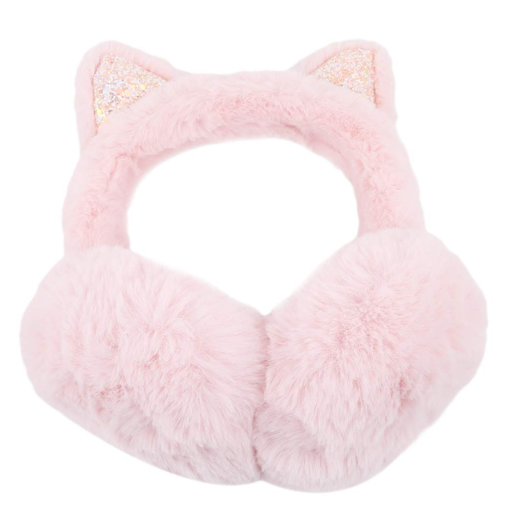 SHIJIAN Multi Colors Winter Sequined Cat Ears Foldable Earmuffs Women Girls, Beige