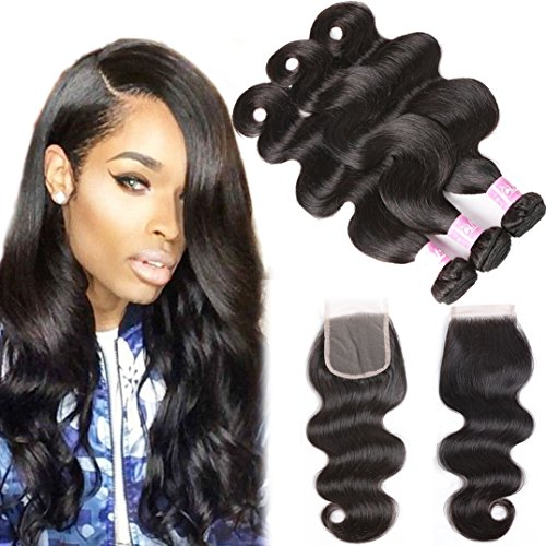 Brazilian Body Wave Bundles with Closure 3 Bundles 9A Remy Human Hair Weave Bundles with Lace Closure 100% Unprocessed Virgin Brazilian Hair Extensions Natural Black (14 16 18 with 12 Free Part)