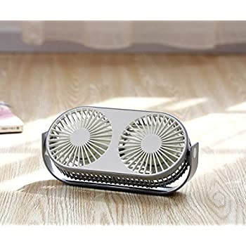 Exclusivo Bolsillo 4.6 Inch 360° Rotatable Personal Dual USB Fan, Quiet and Powerful Desk/Table Fan with Aromatherapy Box, Twin Turbo Blades, 3 Speeds, Portable Mini Fan for Home & Office(Grey)