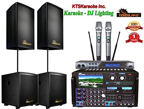 Bundle IDOLpro Premium 8000W Karaoke System With Dual Subwoofers & Speakers And Dual Wireless Microphones Free LED DJ Light (Dj Speaker Bundle)