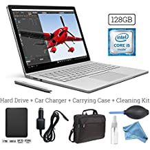 Microsoft Surface Book (128GB, 8GB RAM, Intel Core i5) + 1TB Portable External Hard Drive USB 3.0 + 15.6-Inch Microsoft Surface Carrying Case + 3 in 1 Cleaning Kit + Car Charger Adapter PRO Bundle