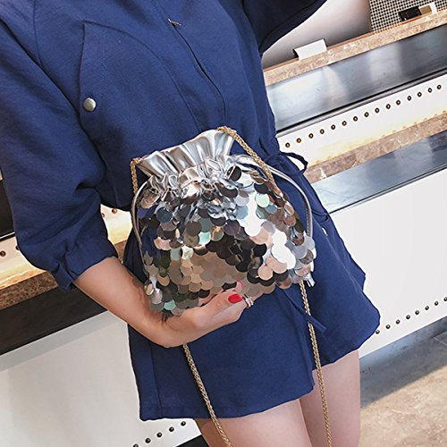 Bag Body Shoulder Meliya Fashion Sequins Girls Silver Cross Women's For Chain Bags Small Tote Drawstring Bucket a7tqH