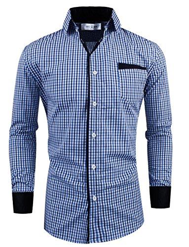 Tom's Ware Mens Premium Slim Fit Checkered Plaid Cotton Longsleeve Shirt TWCS15-NAVY-S