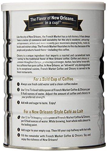 French Market Restaurant Blend Medium- Dark Roast Coffee & Chicory, 12oz can (24 Pack)