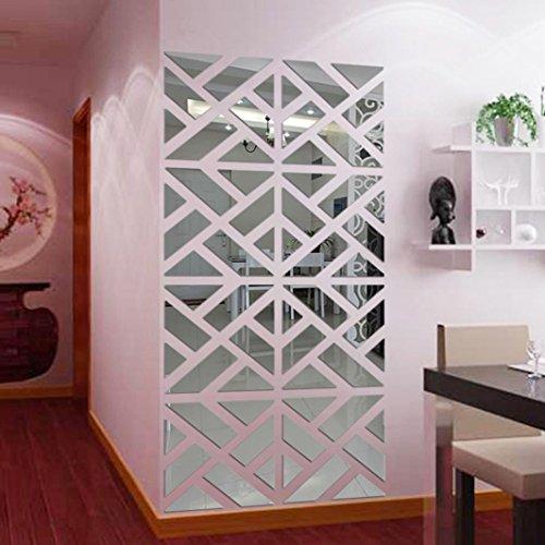 Wall Sticker,32Pcs 3D Mirror Acrylic Wall Sticker DIY Art Vinyl Decal Home Decor Removable (Silver 2) (Sticker Wall Mirror Tiles)