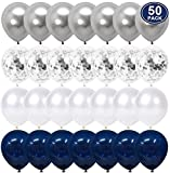 50 pcs Navy Blue and Silver Confetti Balloons, 12 inch White Pearl and Silver Metallic Party Balloons for Graduation Bachelorette Birthday Decorations