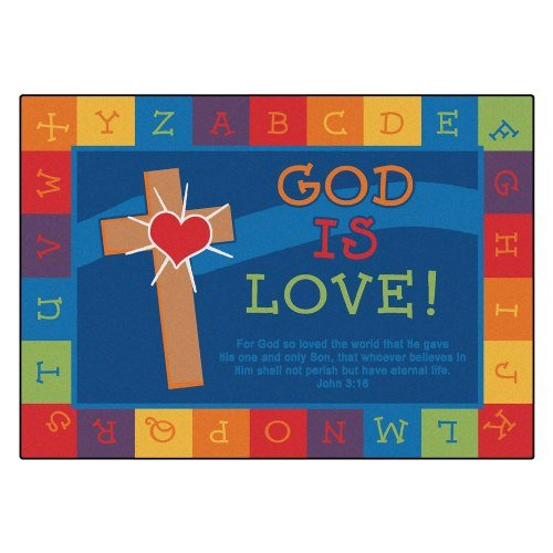 Carpets for Kids 83013 God is Love Learning Kid$ Value Plus Rug - Rectangle 4' x 6' by Carpets for Kids