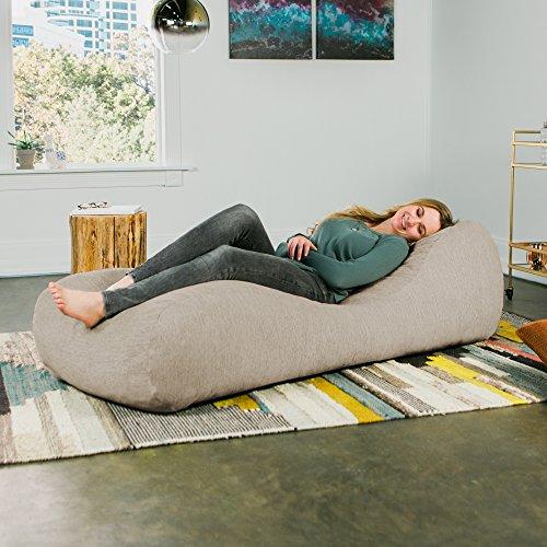 Jaxx Arlo Chaise Lounger Bean Bag Chair - Premium Chenille, Beige ()