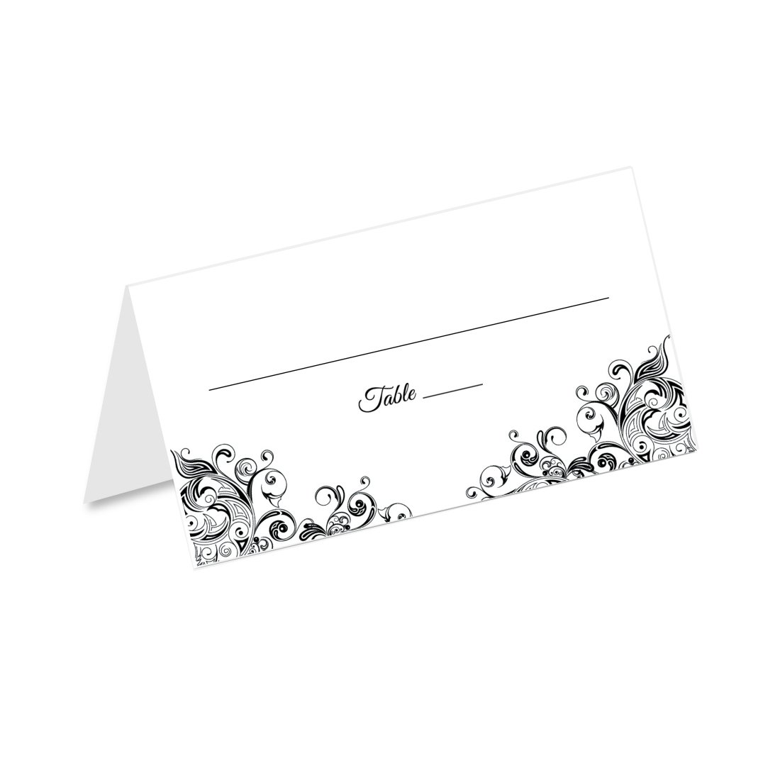 Black and White Flourish Swirl Wedding Tented Table Place Cards (50 Count) - Fold Over Tent Style - Wedding Reception, Bridal Shower, Anniversary Party, Dinner Banquet Place Seating Cards