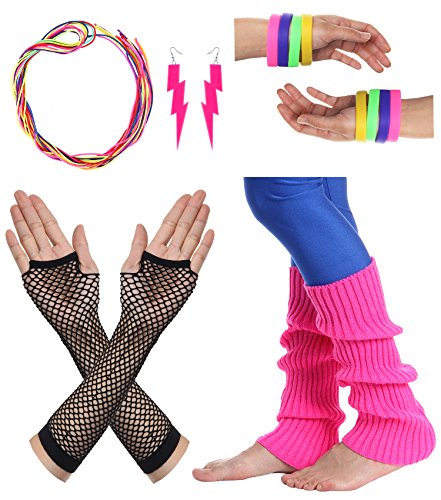 1980s Costumes The (JustinCostume Women's 80s Outfit Accessories Neon Earrings Leg Warmers Gloves,)